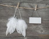 Angel wings with a blank note on grey wooden background