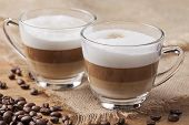 Two glasses of cappuccino coffee
