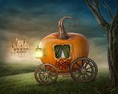 Pumpkin carriage isolated on white background poster