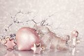 Christmas pink decoration with balls and ribbon