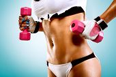 stock photo of stomach  - Body of a young fit woman lifting dumbbells - JPG