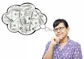 Asian Senior Woman Smilingly And Thinking To Money