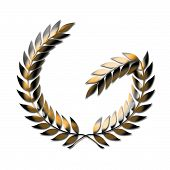 Gold Laurel Wreath With Fractured Branch