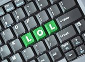 foto of lol  - Green lol key on keyboard - JPG