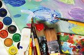 Art Palette, Picture And Mix Of Paintbrushes