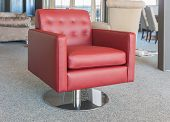 Showroom Modern Furniture Shop With Luxury Red Leather Armchair