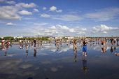 BORDEAUX, FRANCE - AUGUST 8: Bordeaux water mirror full of people in one of the hotest summer days,