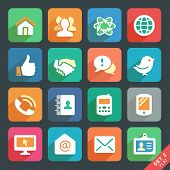 stock photo of social housing  - Communication and media Flat icons for Web and Mobile App - JPG