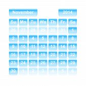 Monthly Calendar For New Year 2014. November