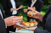 pic of buffet lunch  - Small sandwiches on office meal during the lunch - JPG