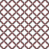 Black, Red And White Interlaced Circles Textured Fabric Background