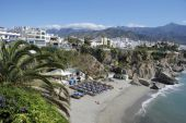 The Beach Of Nerja In Spain.