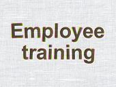 Education concept: Employee Training on fabric texture background