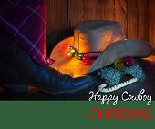 Cowboy Christmas Card With Holiday Decorations.