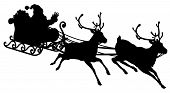 picture of santa sleigh  - Santa Sleigh Silhouette illustration of Santa Claus in his sleigh flying through the sky being pulled by his reindeer - JPG