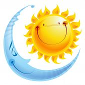pic of blue moon  - Shining yellow smiling sun and sleeping blue moon cartoon character a balance harmony icon of day and night - JPG