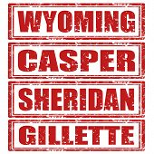picture of casper  - Set of grunge rubber stamps with words Wyoming - JPG