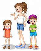 picture of headgear  - Illustration of a girl and her siblings on a white background - JPG