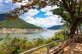 stock photo of hydro-electric  - Hydro Power Electric Dam landscape in nature daytime