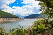 picture of hydro-electric  - Hydro Power Electric Dam landscape in nature daytime - JPG