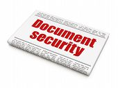 Security news concept: newspaper headline Document Security