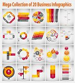 image of computer-generated  - Mega collection  infographic template business concept vector illustration - JPG
