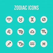 stock photo of cancer horoscope icon  - Zodiac signs in flat style - JPG