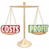 Costs Vs Profits Words Scale Balance