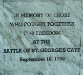 Battle of St. George's Caye memorial sign