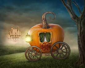 picture of cinderella  - Pumpkin carriage isolated on white background - JPG