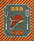 stock photo of chives  - Barbecue retro vintage grill restaurant poster with meat steak tomato and chives vector illustration - JPG