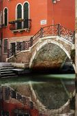 foto of arch foot  - Romantic and beautiful foot bridge over canal in Venice - JPG