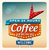 image of marquee  - Retro Neon Sign Coffee lettering in the style of American roadside advertising vintage style 1950s - JPG