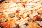 Clloseup Chicken Pizza On Wooden Cutting Board