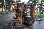 KIEV, UKRAINE - APR 19, 2014: Mass destruction after Putsch of Junta in Kiev,supported US and EU. Kiev.April 19, 2014 Kiev, Ukraine