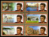 Vintage John F Kennedy Postage Stamps From Sharjah