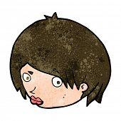 foto of raised-eyebrow  - cartoon female face with raised eyebrow - JPG