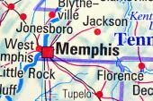 picture of memphis tennessee  - Close up of Memphis Tennessee on a map - JPG