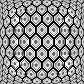 Design Monochrome Warped Hexagon Pattern