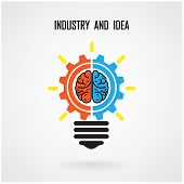 Creative Light Bulb Concept And Brain Sign On Background
