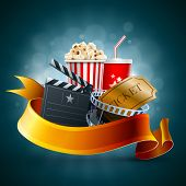 Popcorn box, disposable cup for beverages with straw, film strip and ticket. Detailed vector illustr