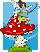 stock photo of toadstools  - Cartoon Illustration of Cute Elf Fairy Fantasy Character on Toadstool Mushroom - JPG