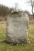 JEDWABNE - APRIL 6: Monument of the Jewish massacre in Jedwabne, Poland on April 6, 2014. Monument i