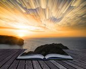 Book Concept Unique Abstract Time Lapse Stack Sunrise Landscape Over Rocky Coastline