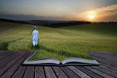 Book Concept Concept Landscape Young Boy Walking Through Field At Sunset In Summer