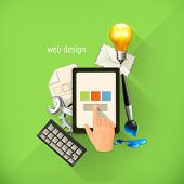 Web-design concept, infographic technology, vector illustration on light green background