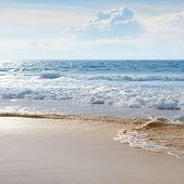 image of sea-scape  - sea scape sand beach and blue sky - JPG