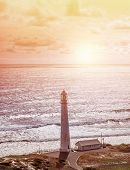 Lighthouse, beautiful seascape, Kommetjie at Slangkop Punt near Cape Town, nature of South Africa, W