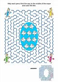 pic of game-fish  - Maze game and coloring activity page for kids - JPG