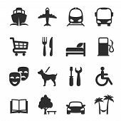 stock photo of trolley  - Set of icons for locations and services with a port  airport  bus  tram  shopping trolley  restaurant  accommodation  hotel  theatre  gas station  workshop  library  dog walking  resort and hospital - JPG